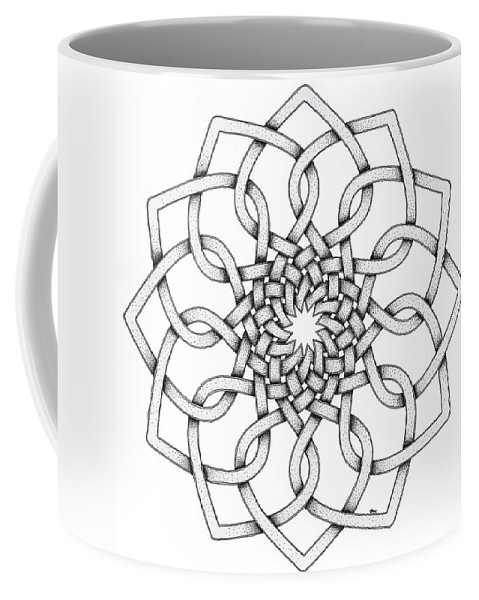 Mandala Coffee Mug featuring the drawing Pattern 18 by Hakon Soreide