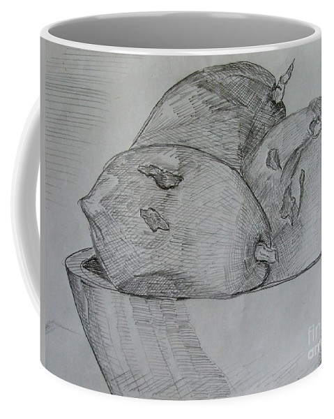 Fruit Coffee Mug featuring the drawing Paw-paw In Wooden Bowl by Caroline Street