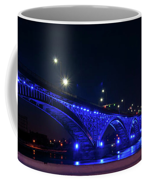 Bridges Coffee Mug featuring the photograph Peace Bridge At Night by Guy Whiteley