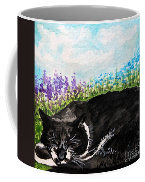 Cat Coffee Mug featuring the painting Peaceful Slumber by Elizabeth Robinette Tyndall