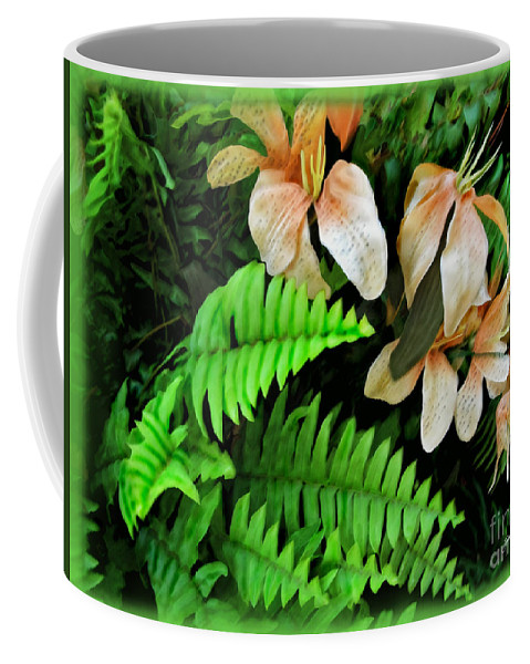 Lilies Coffee Mug featuring the photograph Peach Floral by Joan Minchak