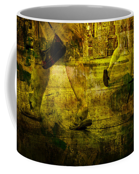 Art Coffee Mug featuring the photograph Pedestrians On The Move No. Ol7 by Randall Nyhof
