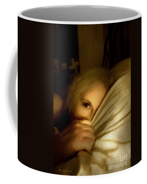 Woman Coffee Mug featuring the painting Peekaboo By Candlelight by RC DeWinter