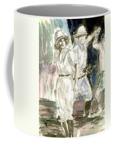 Nostalgia Coffee Mug featuring the drawing Perils Of Pauline by Mel Thompson