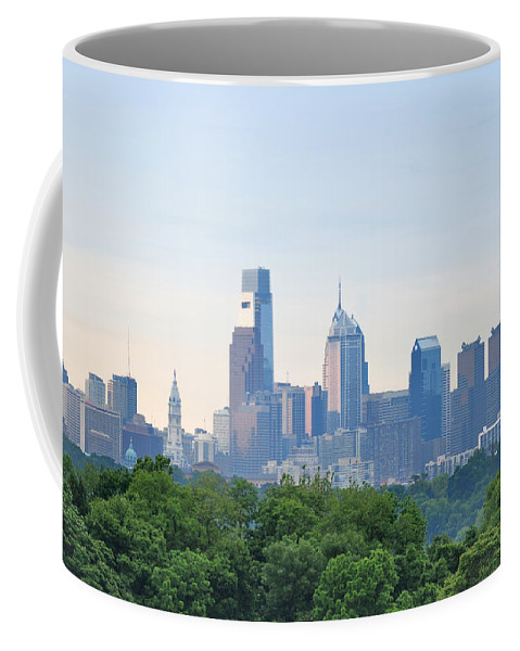 Philly Skyline Coffee Mug featuring the photograph Philly Skyline by Bill Cannon