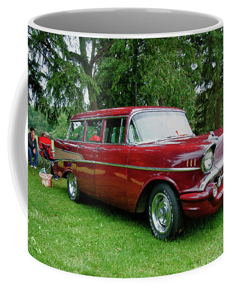 1957 Chevy Coffee Mug featuring the photograph Picnic by Guy Whiteley