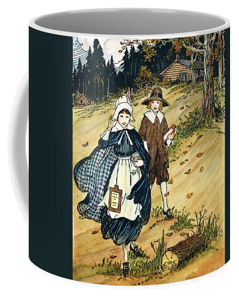 17th Century Coffee Mug featuring the photograph Pilgrim Schoolchildren by Granger