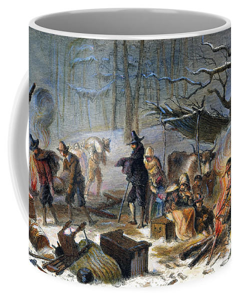 1620 Coffee Mug featuring the photograph Pilgrims: First Winter, 1620 by Granger