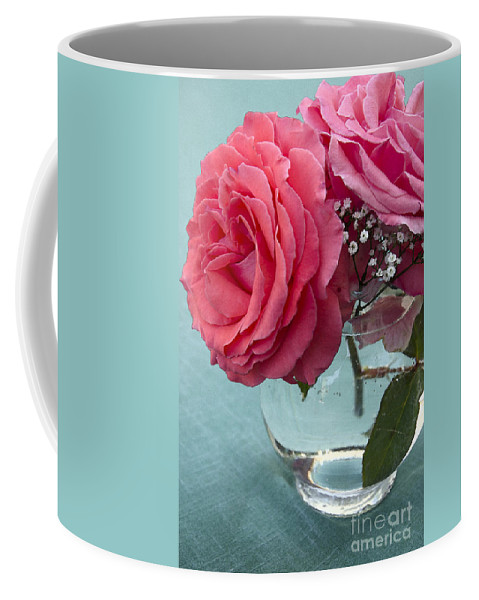Rose Coffee Mug featuring the photograph Pink And Aqua Roses by Jim And Emily Bush
