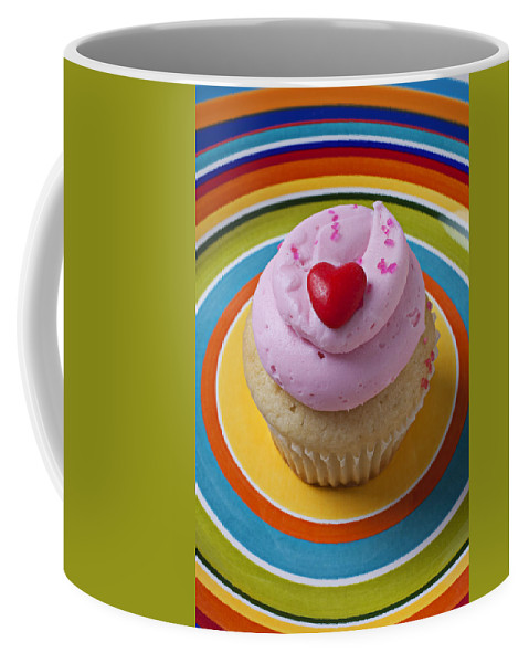 Cupcake Coffee Mug featuring the photograph Pink Cupcake With Red Heart by Garry Gay