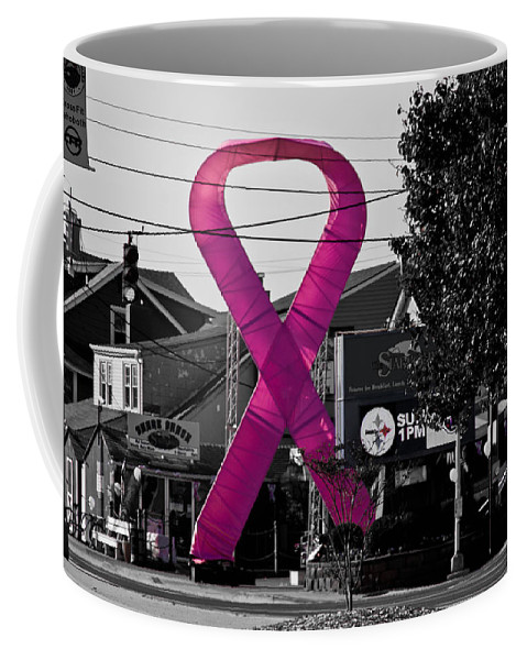Pink Coffee Mug featuring the photograph Pink Ribbon For Breast Cancer Awareness by Trish Tritz