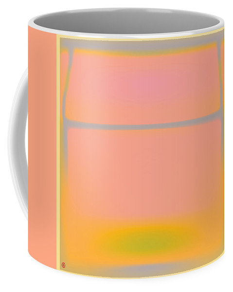 Pink Coffee Mug featuring the painting Pink Yellow And Grey by Gary Grayson