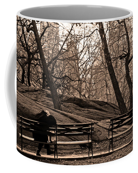 Park Coffee Mug featuring the photograph Pondering In Sepia by La Dolce Vita