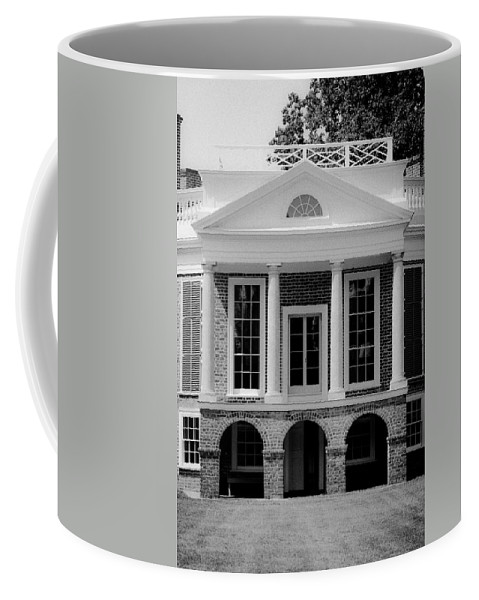 Poplar Forest Coffee Mug featuring the photograph Poplar Forest South Portico Bw by Teresa Mucha