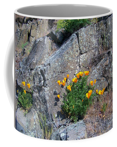 Poppy Coffee Mug featuring the photograph Poppy On The Rocks by Charles Robinson
