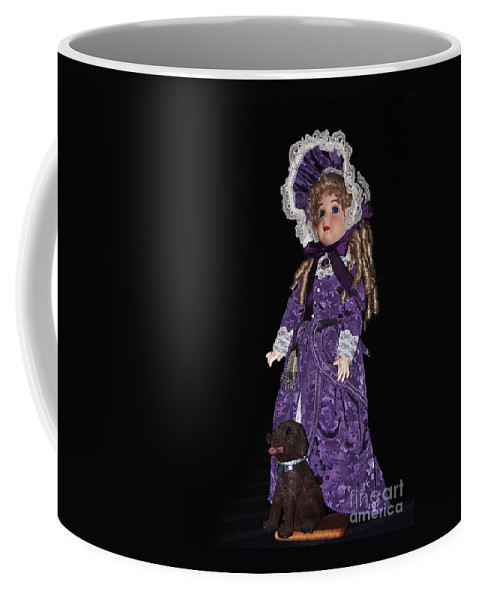 Photography Coffee Mug featuring the photograph Porcelain Doll - Full View With Puppy by Kaye Menner
