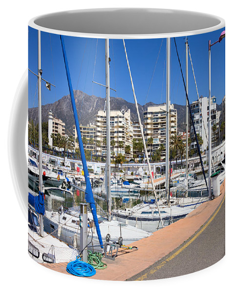 Marbella Coffee Mug featuring the photograph Port In Marbella by Artur Bogacki