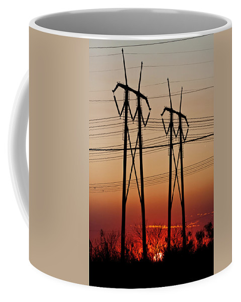 Brush Coffee Mug featuring the photograph Power Towers At Sundown by Ed Gleichman