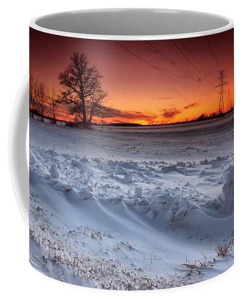 Winter Coffee Mug featuring the photograph Powerlines In Winter by Cale Best