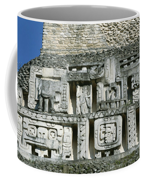 Central America Coffee Mug featuring the photograph Pre-columbian Stone Ruin With Relief by Barry Tessman
