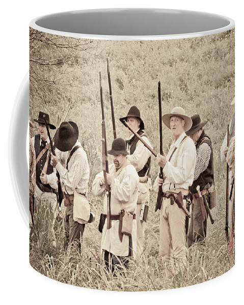 Kentucky Mustangs Coffee Mug featuring the mixed media Preparing For Battle by Kim Henderson