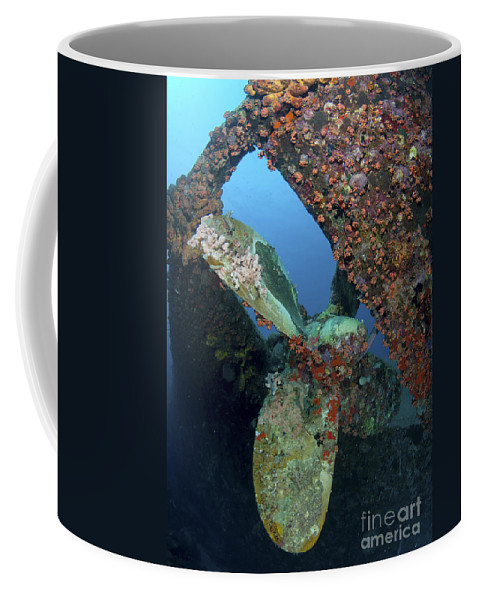 Propeller. Cup Coral Coffee Mug featuring the photograph Propeller Of Hilma Hooker Shipwreck by Karen Doody