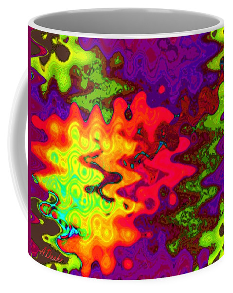 Psychedelic Coffee Mug featuring the digital art Psychedelic Guitar by Alec Drake