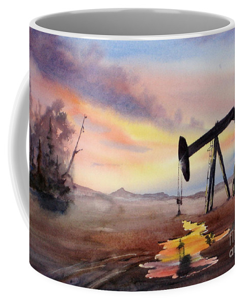 Oil Coffee Mug featuring the painting Pumping For Gold by Mohamed Hirji