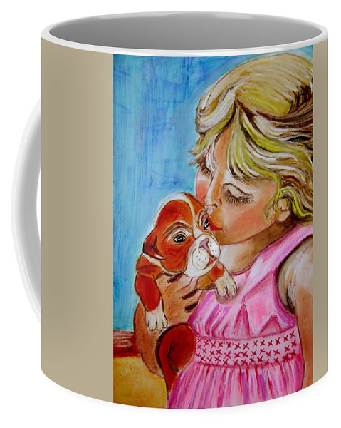 Children Coffee Mug featuring the painting Puppy Love by Rusty Gladdish