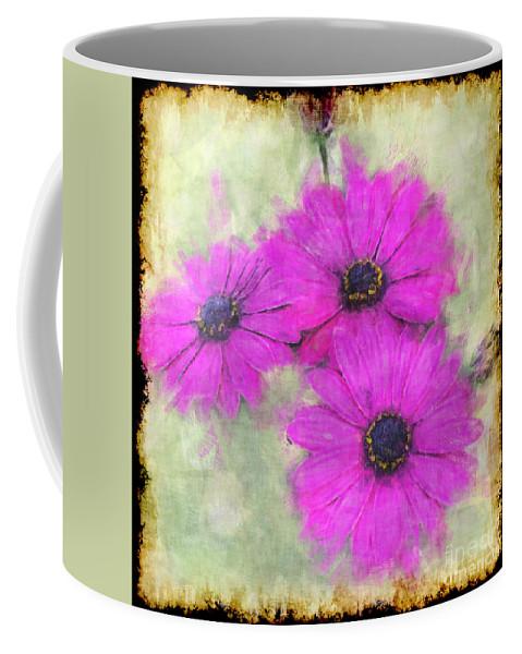 Nature Coffee Mug featuring the digital art Purple Daisy Trio II by Debbie Portwood