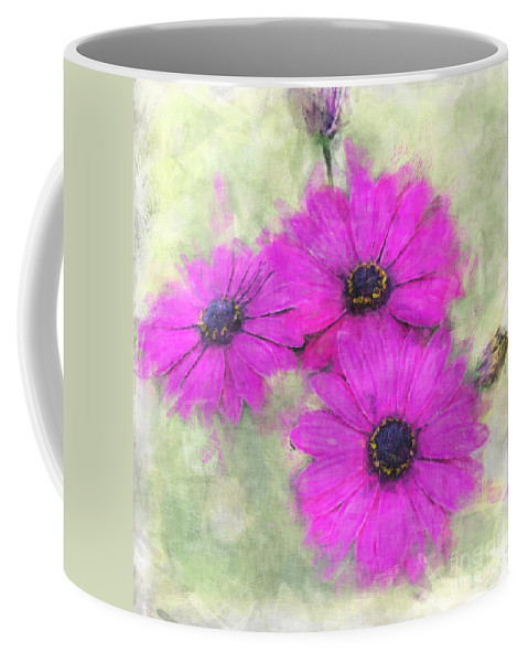 Nature Coffee Mug featuring the digital art Purple Daisy Trio Watercolor Photoart by Debbie Portwood