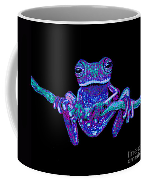 Frog Coffee Mug featuring the painting Purple Ghost Frog by Nick Gustafson