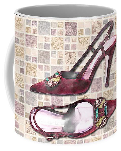 Shoes Heels Pumps Fashion Designer Feet Foot Shoe Stilettos Painting Paintings Illustration Illustrations Sketch Sketches Drawing Drawings Pump Stiletto Fetish Designer Fashion Boot Boots Footwear Sandal Sandals High+heels High+heel Women's+shoes Graphic Sophisticated Elegant Modern Coffee Mug featuring the painting Purple Pumps On Terrazzo Tiles by Elaine Plesser