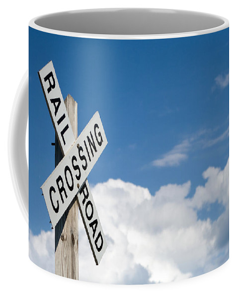Railroad Coffee Mug featuring the photograph Railroad Crossing Sign by Stephanie McDowell