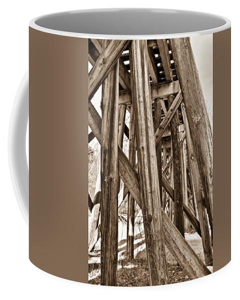 Nostalgia Coffee Mug featuring the photograph Railroad Trussel by Douglas Barnett