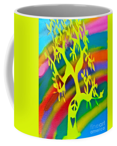 Tree Coffee Mug featuring the painting Rainbow Roots by Tony B Conscious