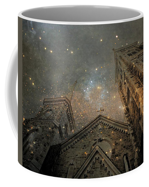 Church Coffee Mug featuring the digital art Magical Rattling Sky by Gothicrow Images