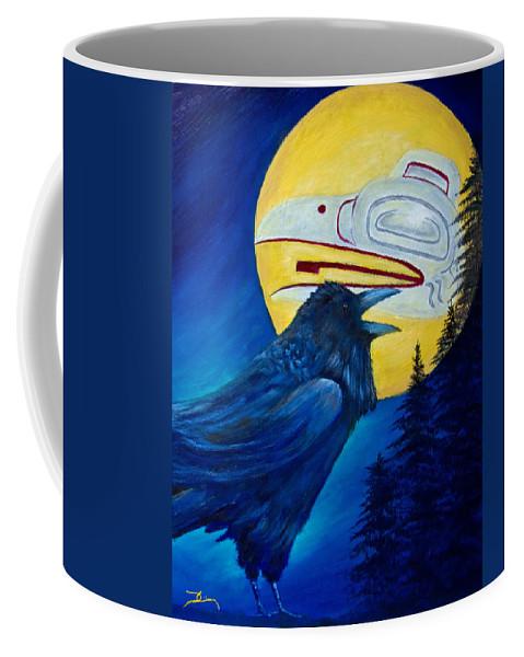 Raven Coffee Mug featuring the painting Raven Spirit by Dee Carpenter