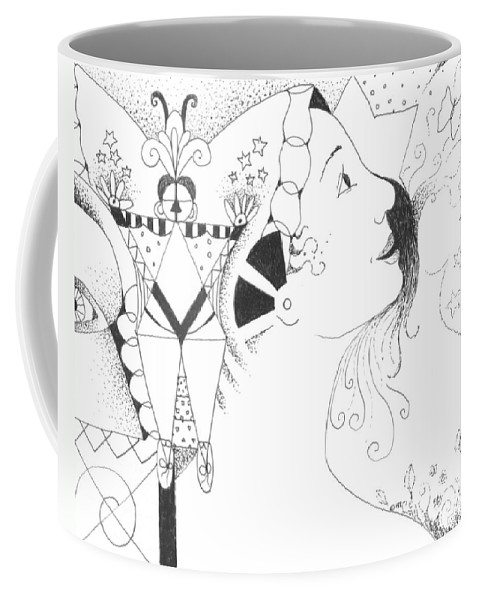 Aspirations Coffee Mug featuring the drawing Recalling Dreams by Helena Tiainen