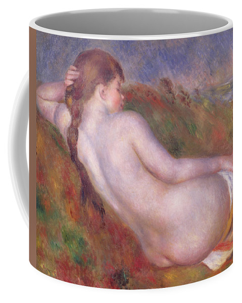 Impressionist; Female; Plait; Annenberg Collection; Palm Springs Coffee Mug featuring the painting Reclining Nude In A Landscape by Pierre Auguste Renoir