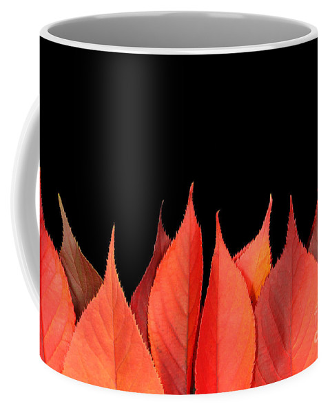 Flames Coffee Mug featuring the photograph Red Autumn Leaves On Edge by Simon Bratt Photography LRPS