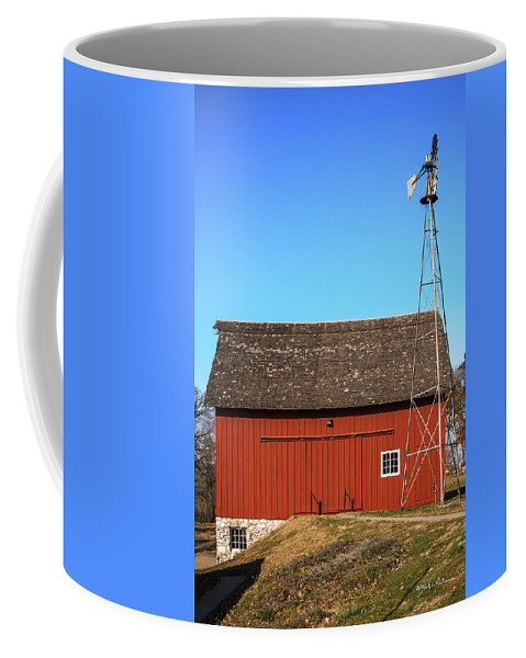 Barns Coffee Mug featuring the photograph Red Barn And Windmill by Edward Peterson