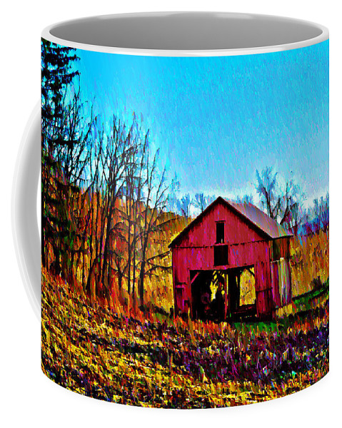 Red Coffee Mug featuring the photograph Red Barn On A Hillside by Bill Cannon