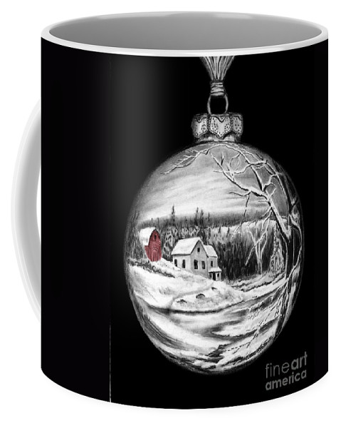 Red Barn Coffee Mug featuring the drawing Red Barn Winter Scene Ornament by Peter Piatt