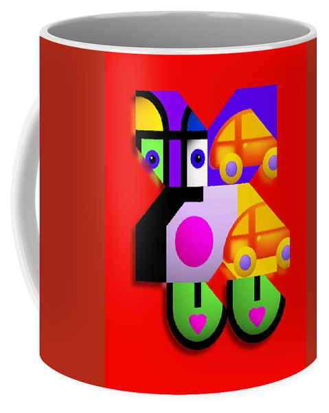 Pop Coffee Mug featuring the painting Red Collage by Charles Stuart