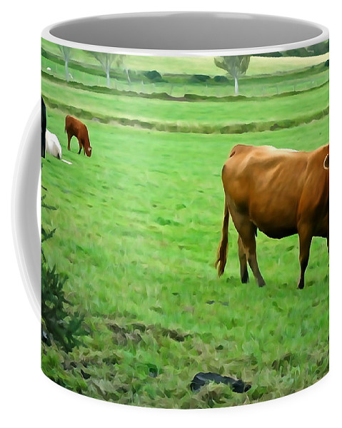 Cattle Coffee Mug featuring the photograph Red Cow by Charlie and Norma Brock