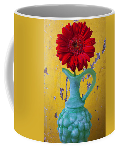 Red Coffee Mug featuring the photograph Red Daisy In Grape Vase by Garry Gay