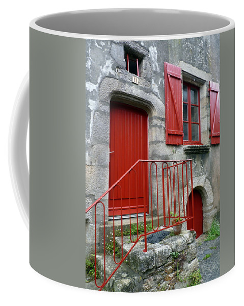 Red Coffee Mug featuring the photograph Red Door In Laroche Bernard by Carla Parris
