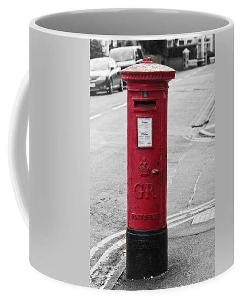 King George V Coffee Mug featuring the photograph Red King George V Postbox by Steve Purnell
