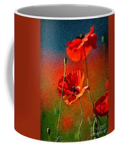 Poppy Coffee Mug featuring the painting Red Poppy Flowers 08 by Nailia Schwarz